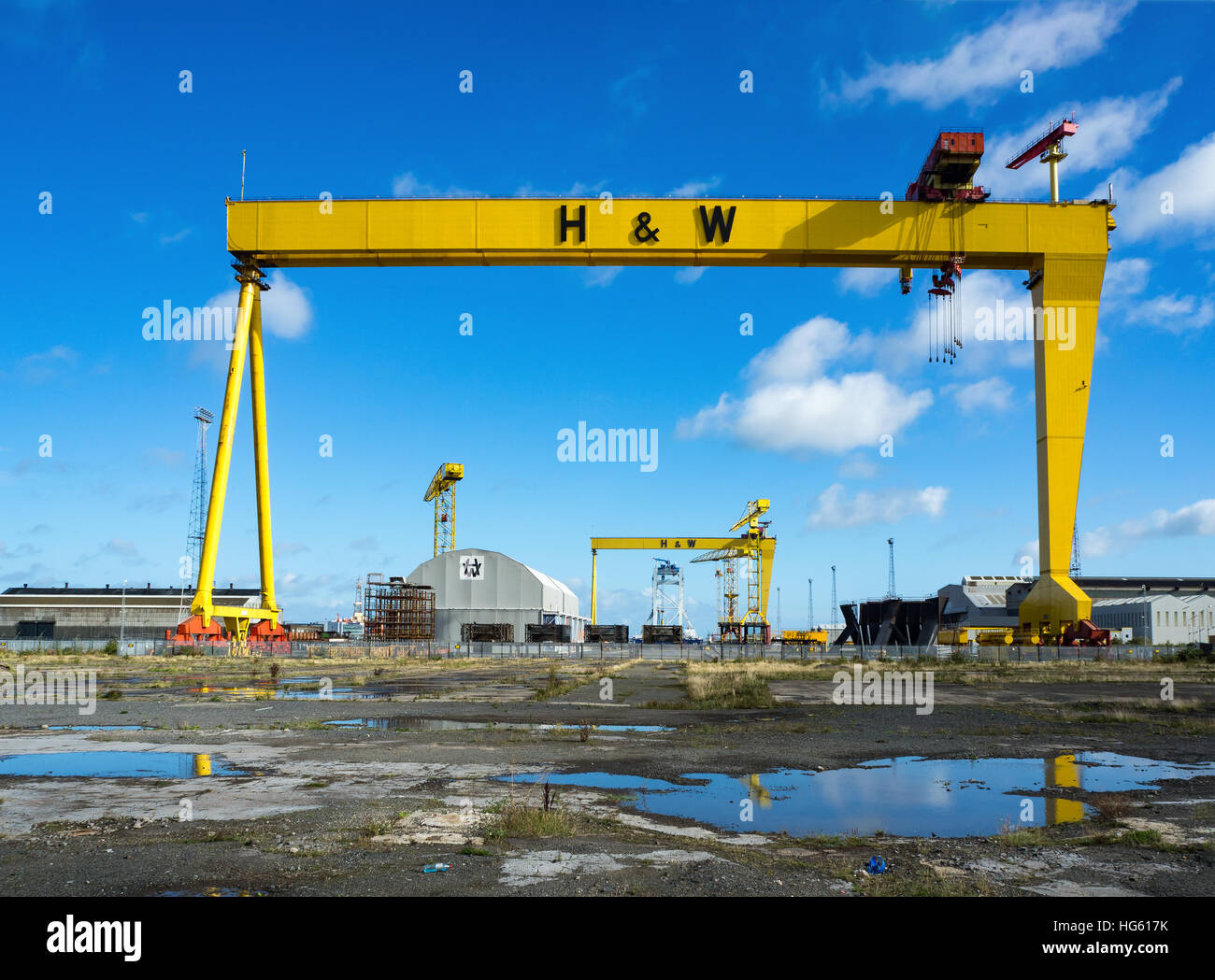 Samson and Goliath. Twin shipbuilding gantry cranes in Titanic quarter, famous landmark of Belfast - Stock Image
