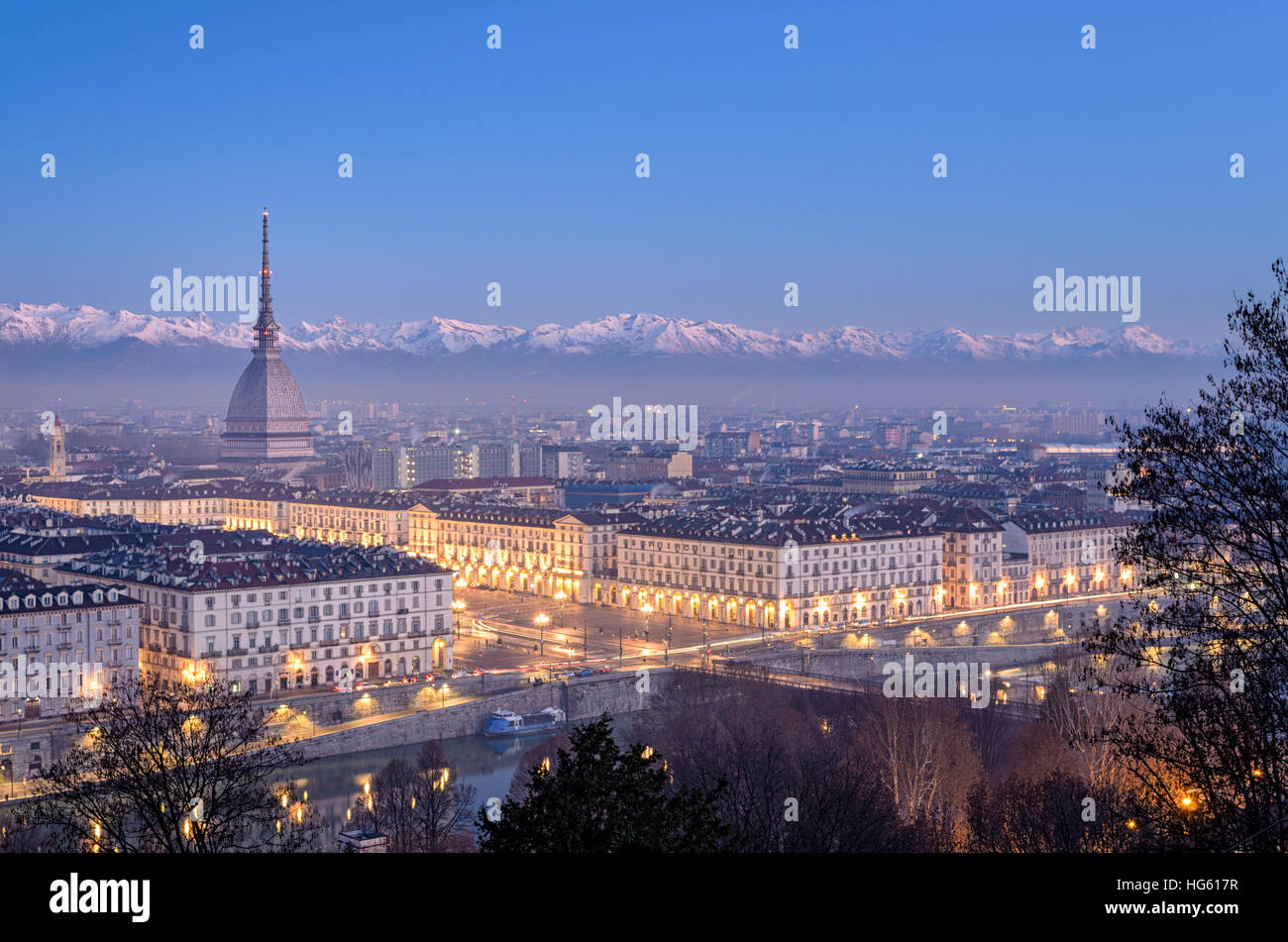 Turin high definition panorama at blue hour with Mole Antonelliana Piazza Vittorio and the Alps in the background Stock Photo