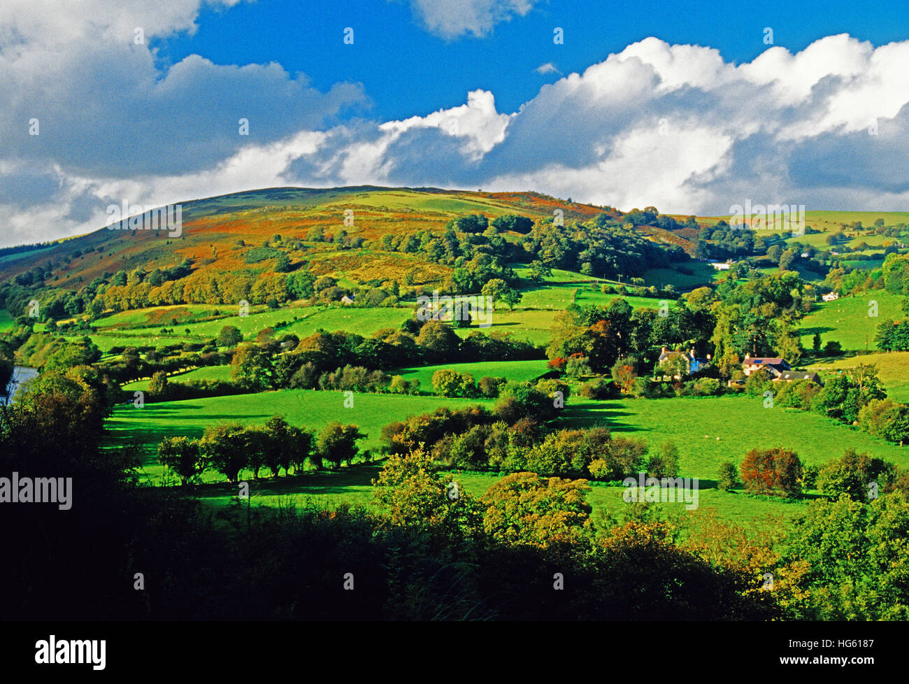 Pastoral landscape in Dee River Valley countryside in Wales. - Stock Image