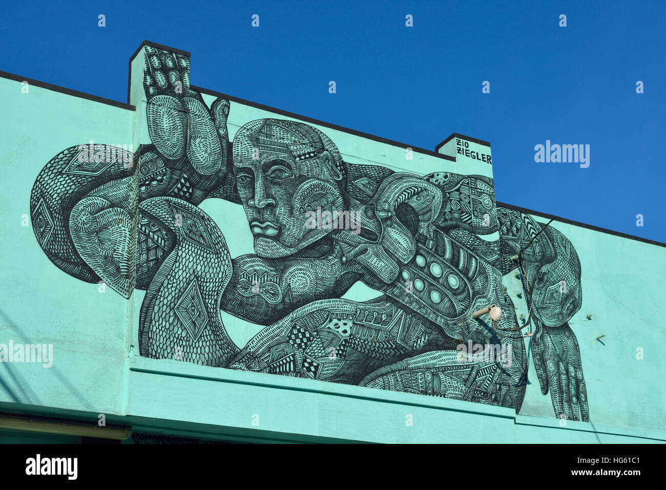 Warrior Surfer Memorial, Outer Sunset, San Francisco CA Stock Photo