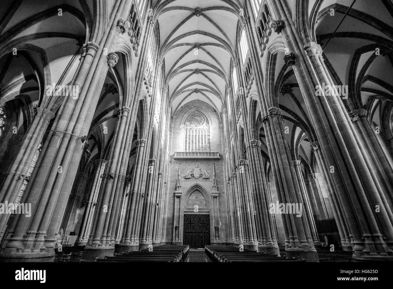 Interior Of Cathedral Mary Immaculate In Vitoria Spain Built 20th Century With High Gothic Style