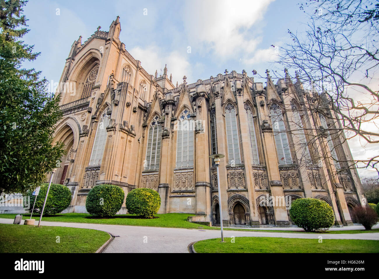 Cathedral of Mary Immaculate in Vitoria, Spain, built in 20th Century with High Gothic style. - Stock Image