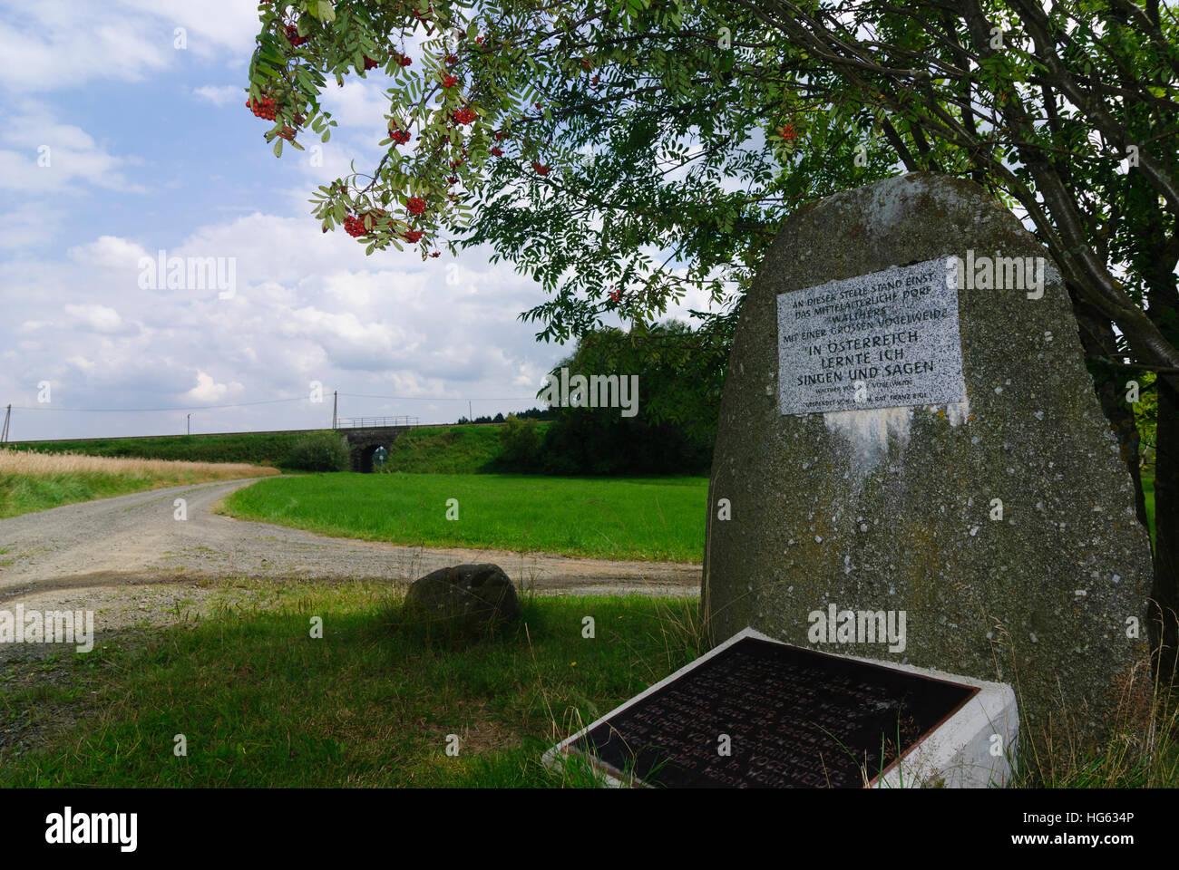 Zwettl: Memorial stone at the alleged birthplace of Walter von der Vogelweide in Hörmanns, Waldviertel, Niederösterreich, Stock Photo