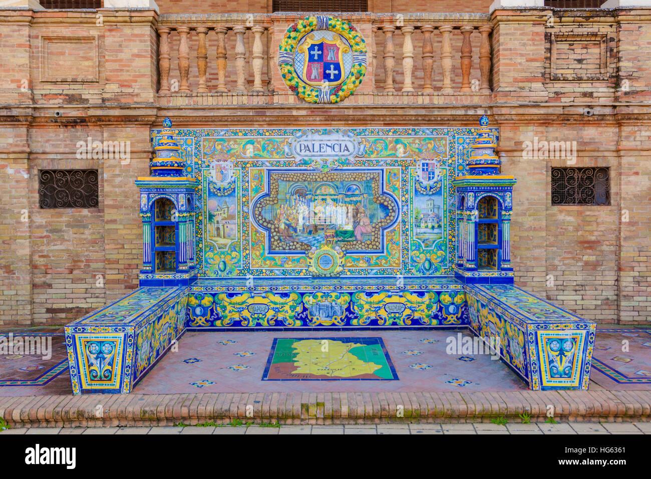 Glazed tiles bench of spanish province of Palencia at Plaza de Espana, Seville, Spain - Stock Image