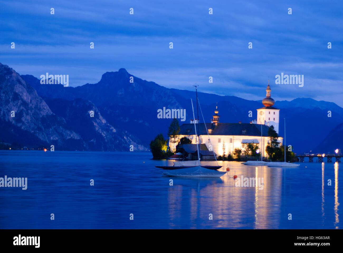 Gmunden: lake Traunsee, lake-castle Ort, Salzkammergut, Oberösterreich, Upper Austria, Austria - Stock Image