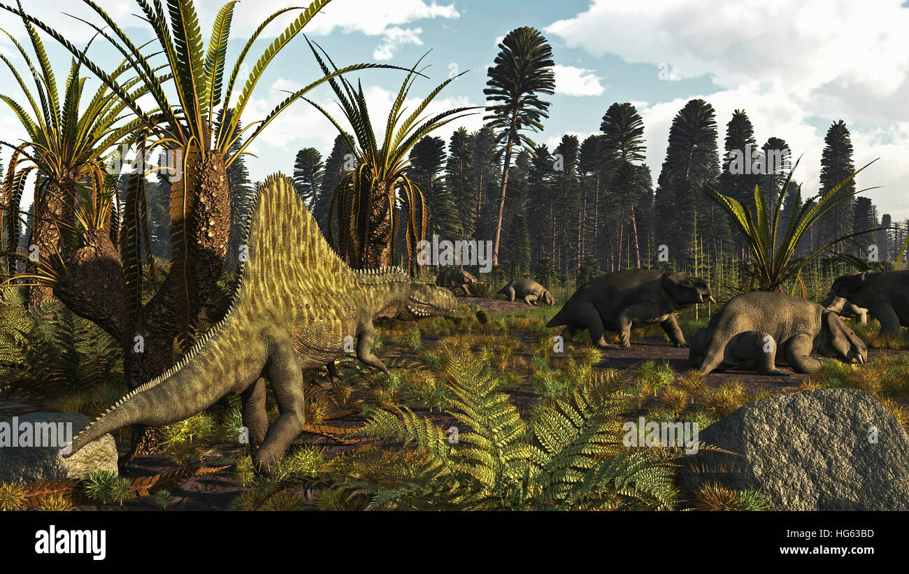 A Triassic scene with the sailback Arizonasaurus and some dicynodonts. - Stock Image