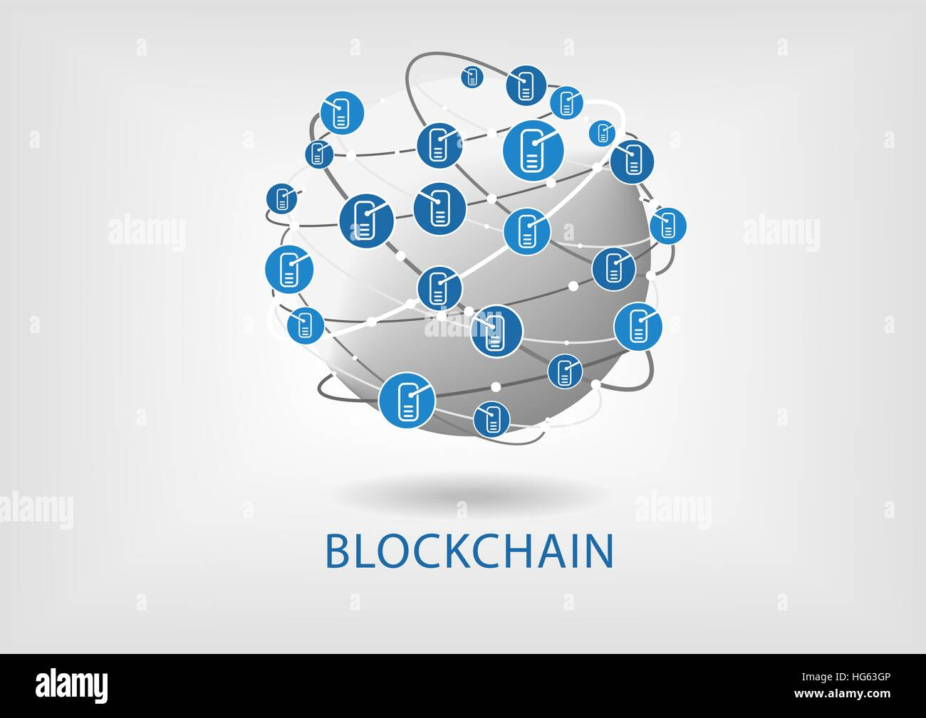 Blockchain vector illustration with connected globe on light grey background - Stock Image