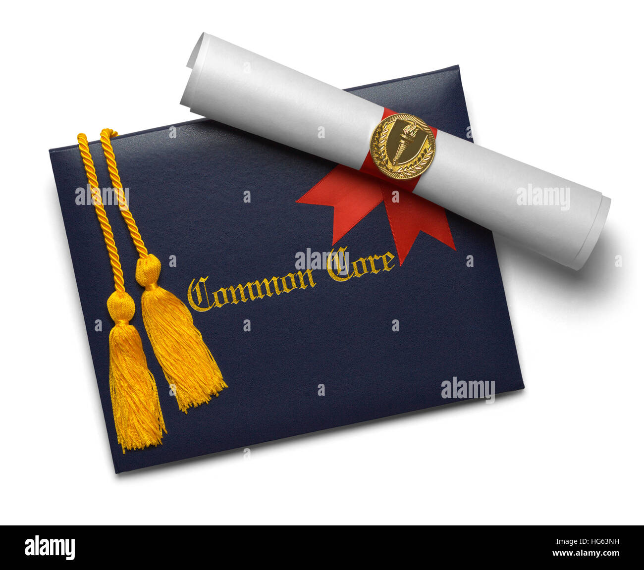 Common Core Diploma of Graduation Cover with Degree Scroll and Torch Medal with Honor Cords Isolated on White Background. - Stock Image