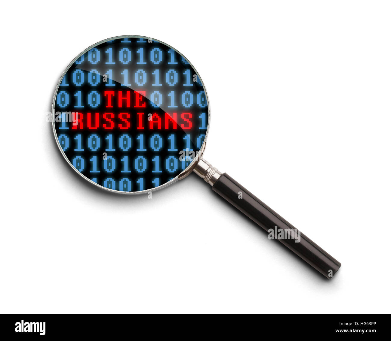 Computer Code with The Russians Magnifying Glass Isolated on a White Background. - Stock Image