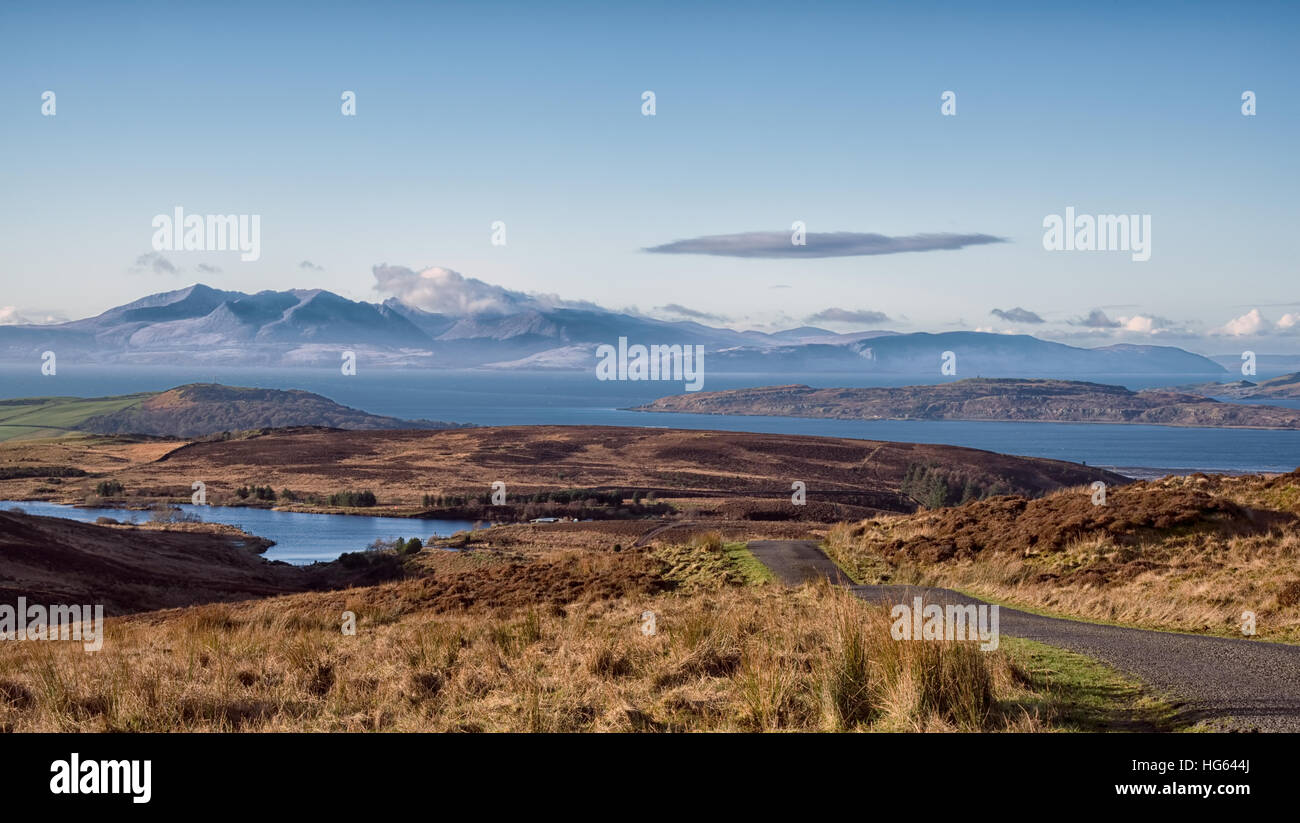 Arran from Dalry Moor Road looking across Fairlie Moor and The Cumbrae's - Stock Image