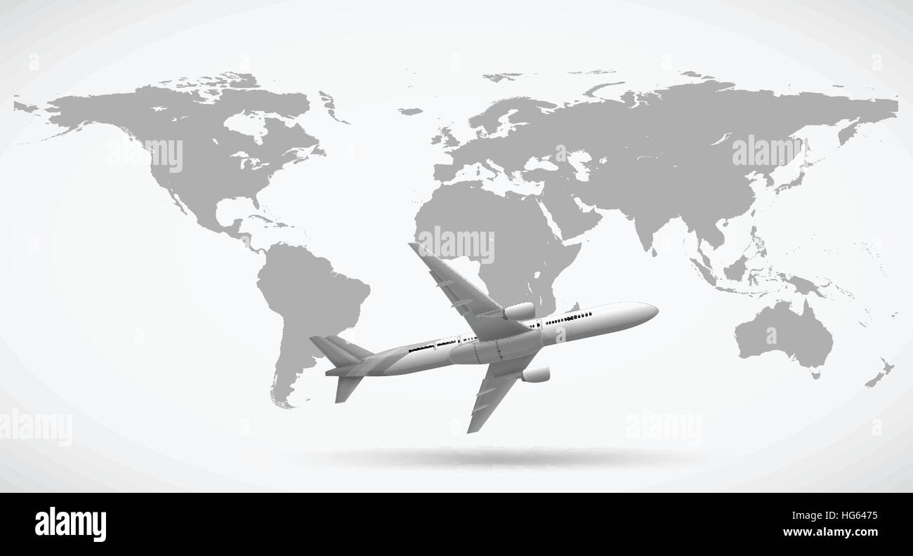 Grayscale of world map and airplane illustration stock vector art grayscale of world map and airplane illustration gumiabroncs Images