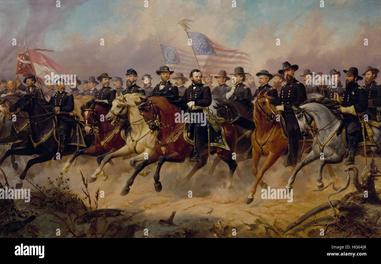 Painting of Ulysses S. Grant and his Generals by Ole Peter Hansen Balling. - Stock Image