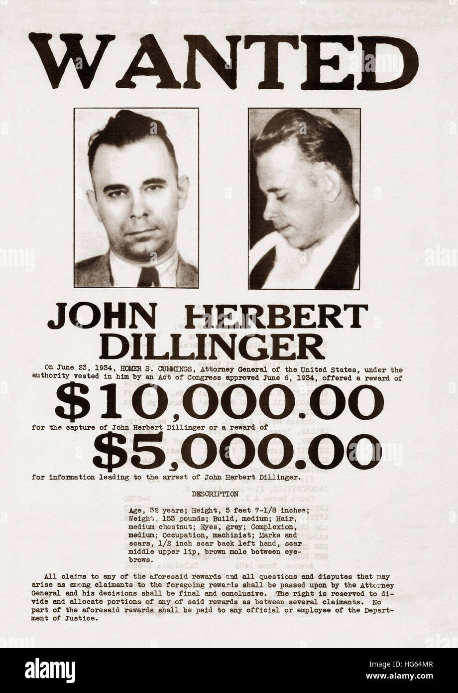A John Dillinger wanted poster. - Stock Image