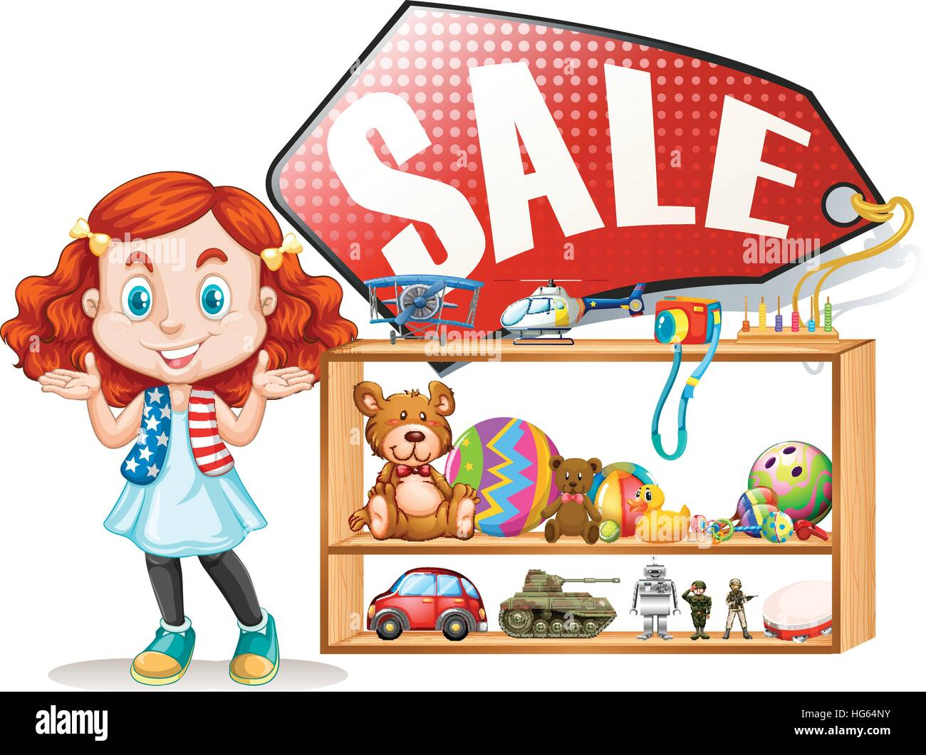 Girl saling old toys illustration - Stock Vector
