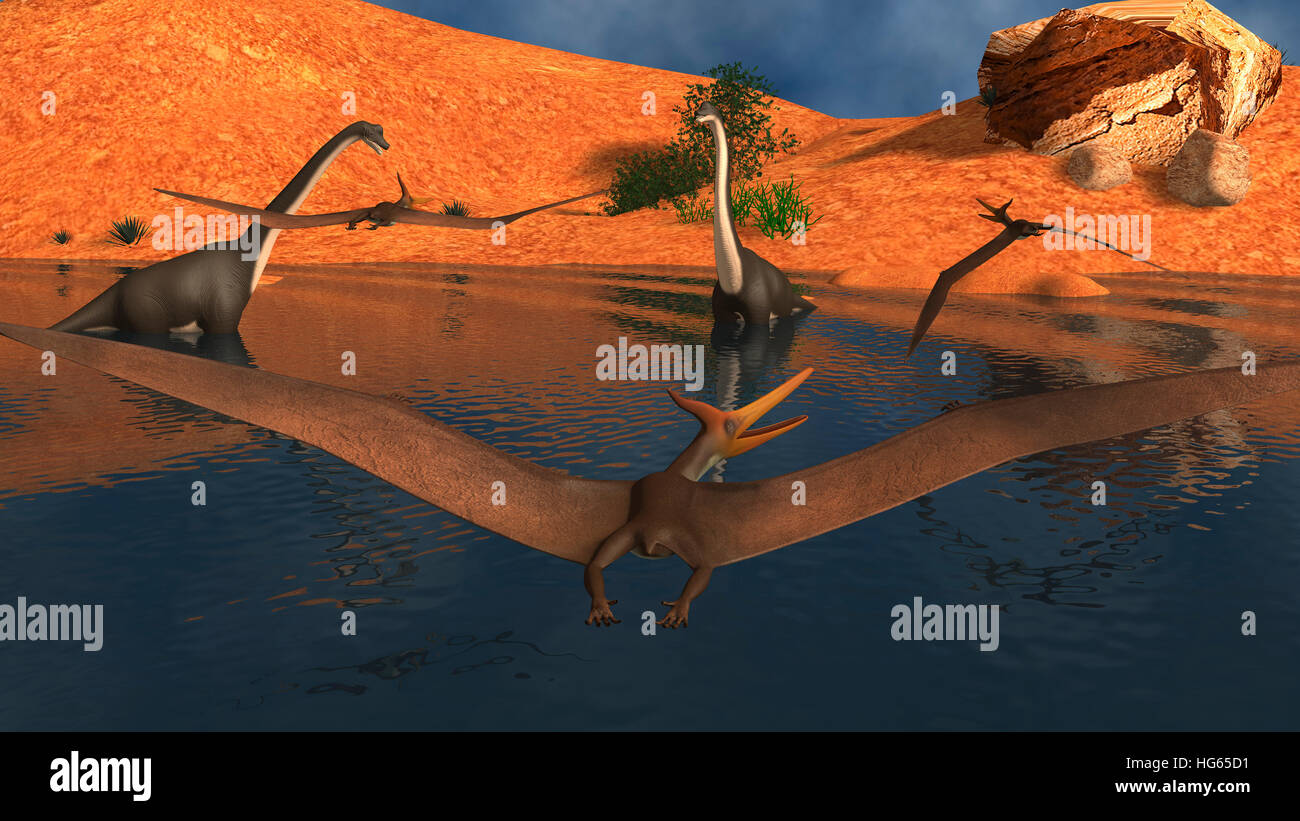 Pteranodon reptiles flying over a group of Brachiosaurus dinosaurs. Stock Photo