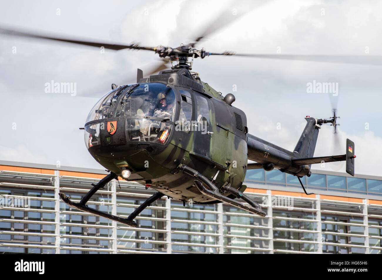 A Bo-105 liasion helicopter of the German Army in Dresden, Germany. - Stock Image