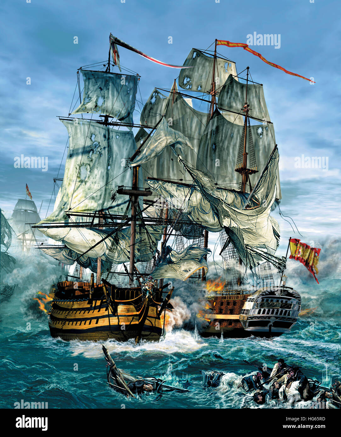 Naval warfare was dominated by sailing ships from the 16th to the mid 19th century. - Stock Image