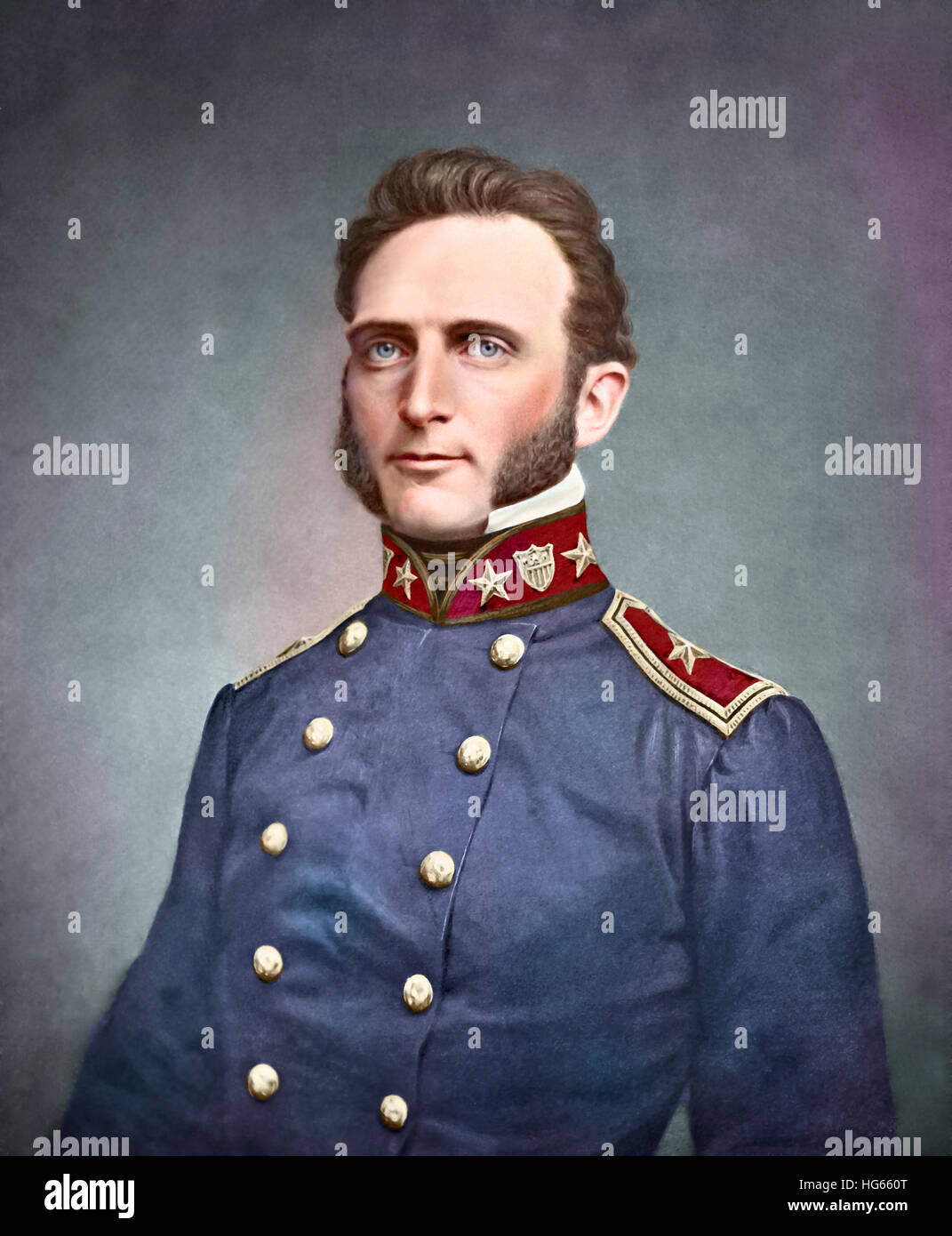 Portrait of Thomas Stonewall Jackson as a young officer. - Stock Image