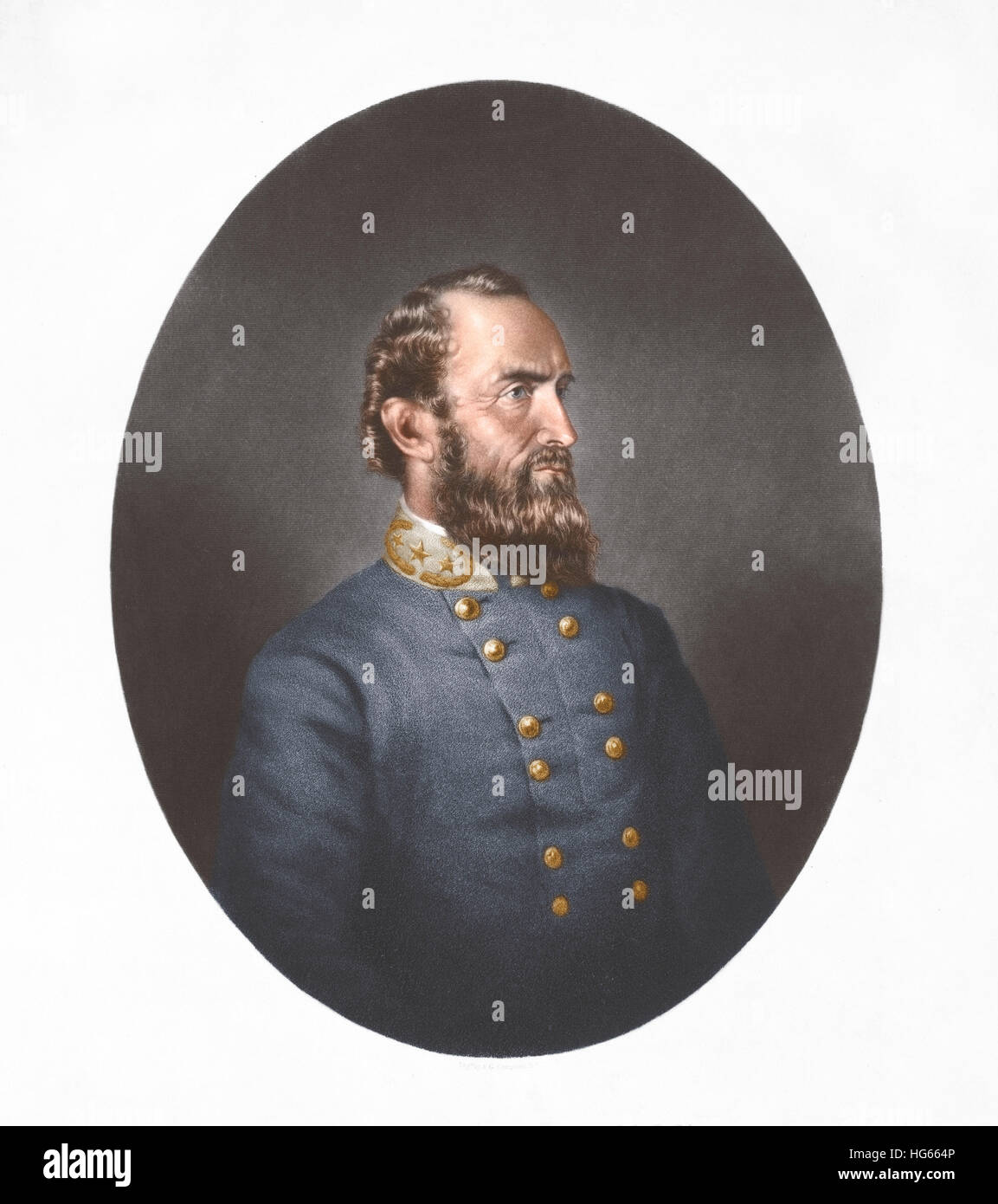 Portrait of Thomas Stonewall Jackson wearing a blue tunic. - Stock Image