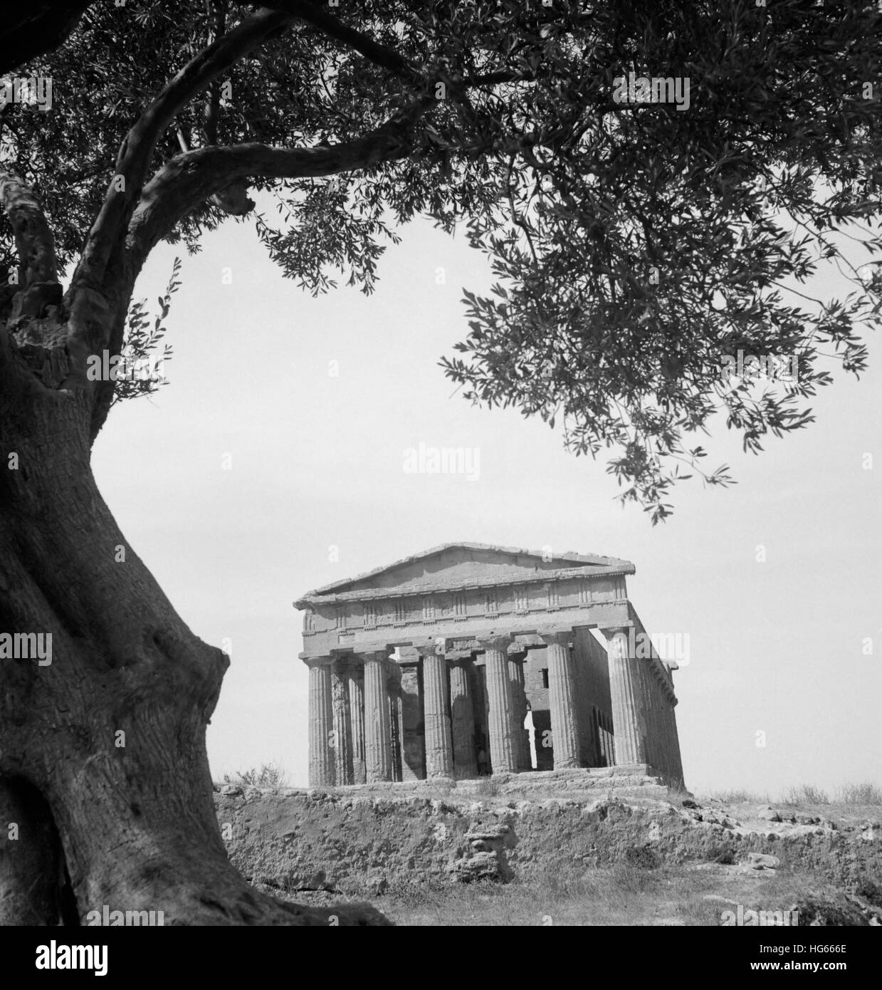 An ancient Greek temple in Agrigento, Sicily, 1943. - Stock Image