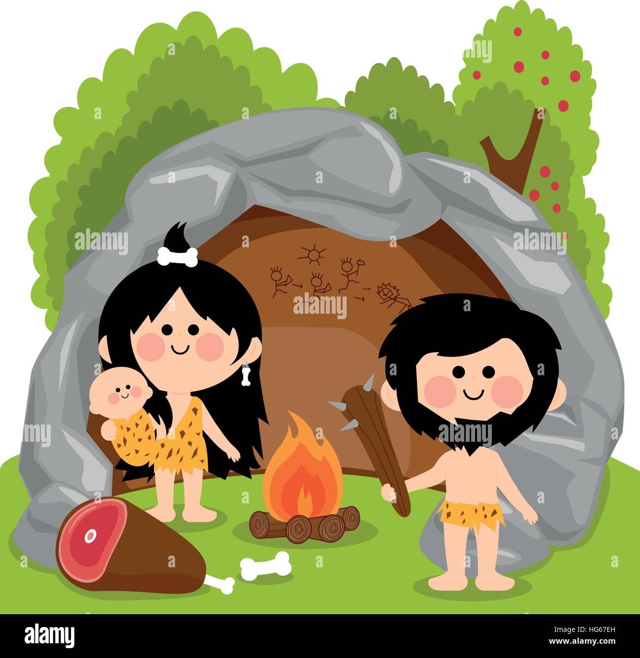 Cavemen family in stone cave. - Stock Image