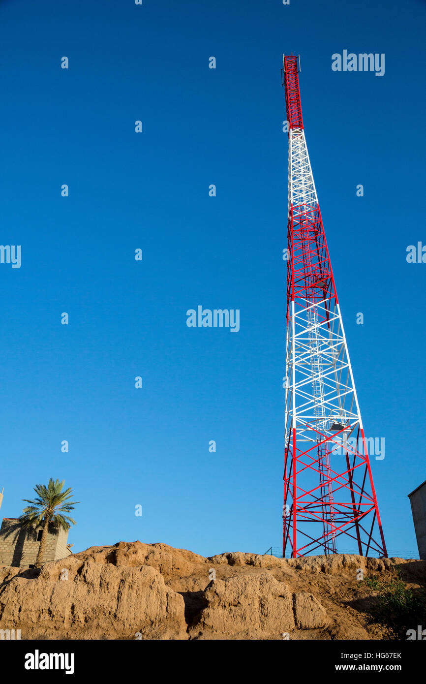Ksar Elkhorbat, Morocco  Cell Phone Tower behind Ruins of