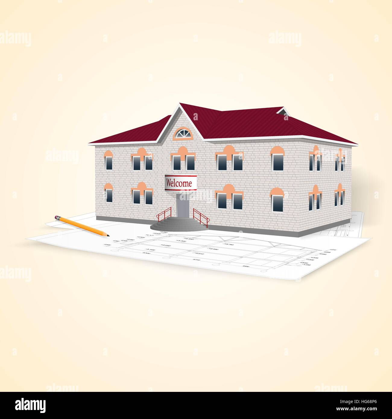 Realistic separately standing brick office building with drawings and pencil. Perspective view. Vector illustration. Stock Vector
