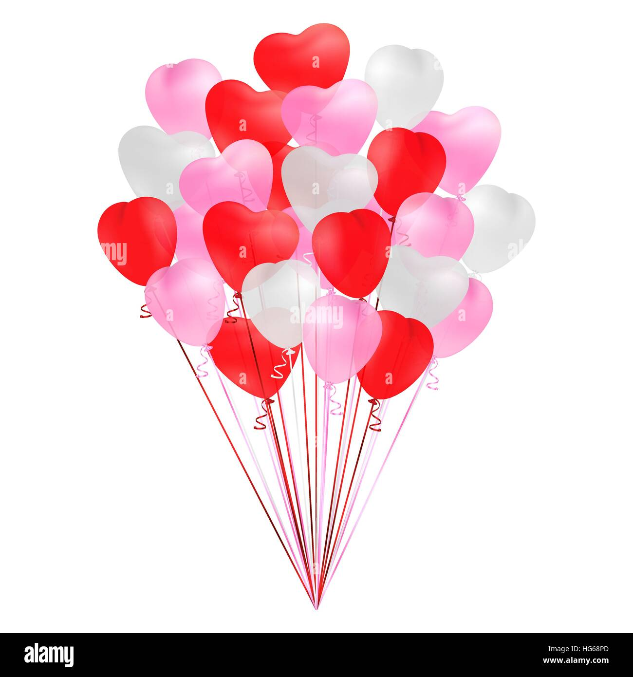 Bunch Of Transparent Realistic Heart Shaped Balloons Of Red Pink