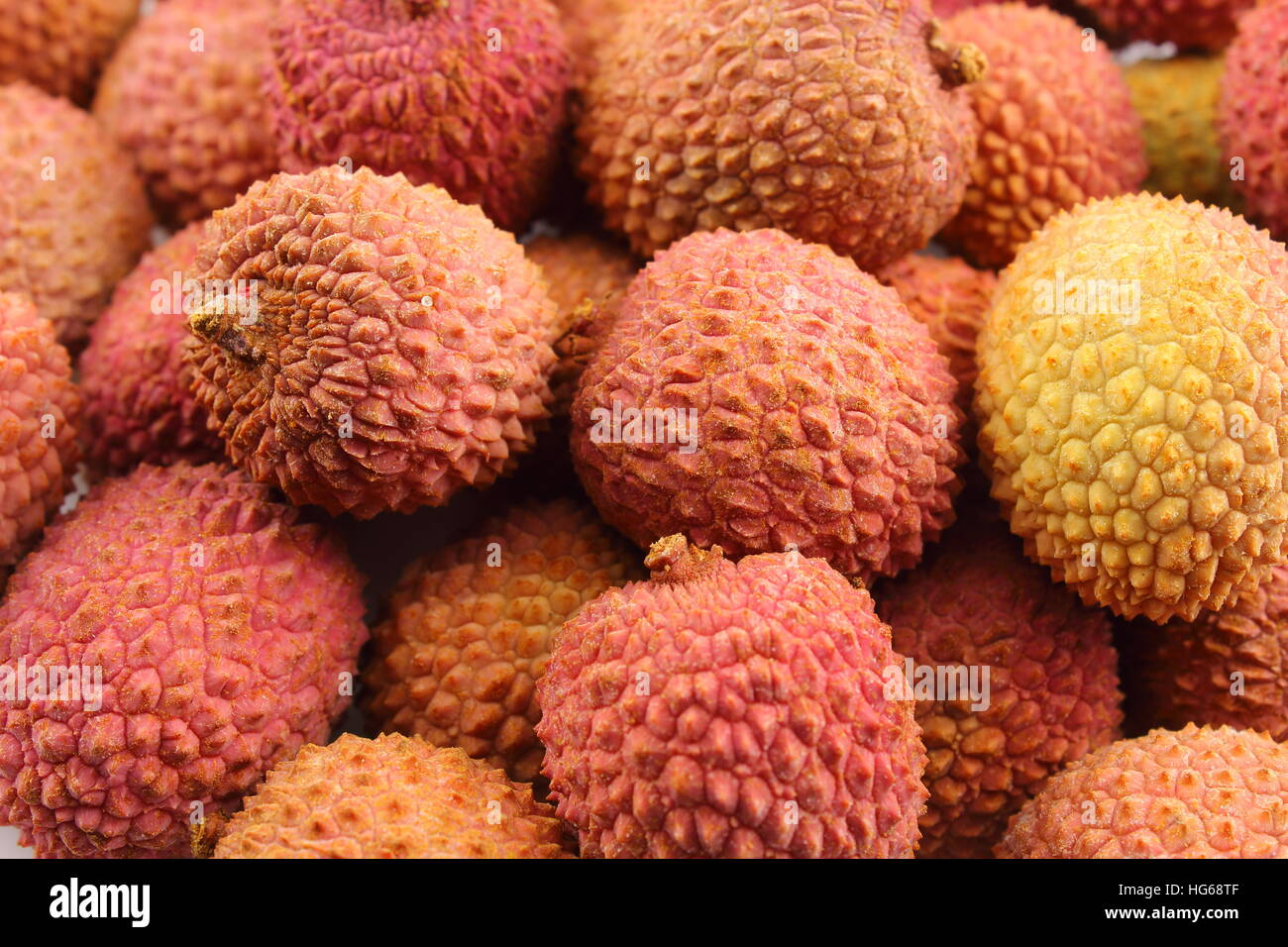 lychee fruits closeup food background texture - Stock Image