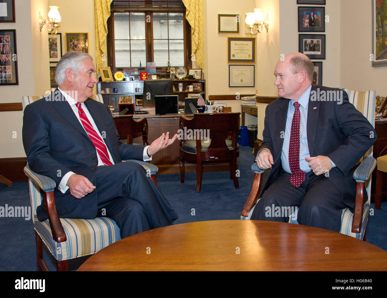 United States Secretary Of State Designate Rex Tillerson, Left, Meets With  US Senator Chris Coons (Democrat Of Delaware), Right, In Coonsu0027 Capitol  Hill ...