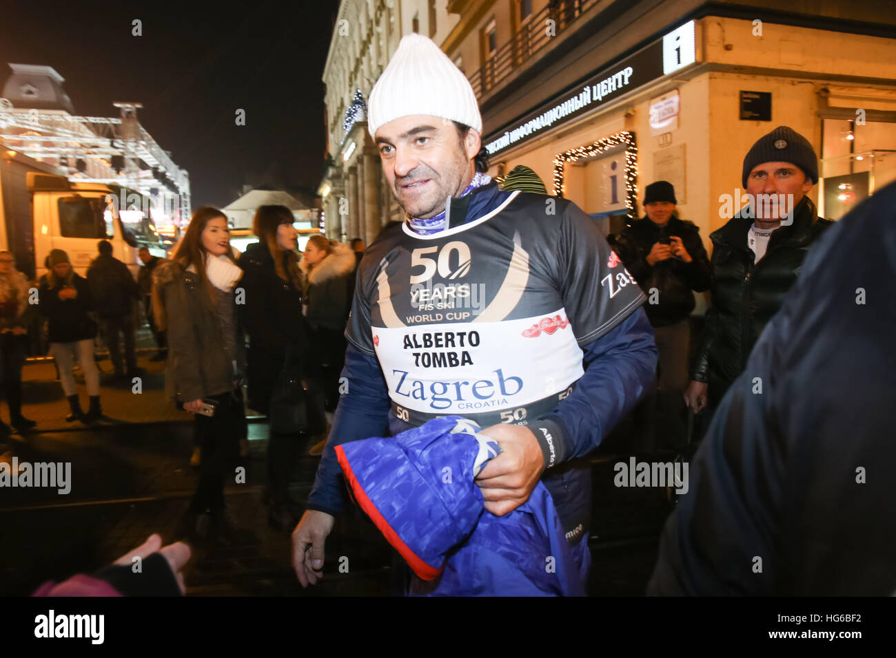 Zagreb, Croatia. 4th January, 2017. A celebration marking the 50th anniversary of the FIS World Cup in alpine skiing. - Stock Image