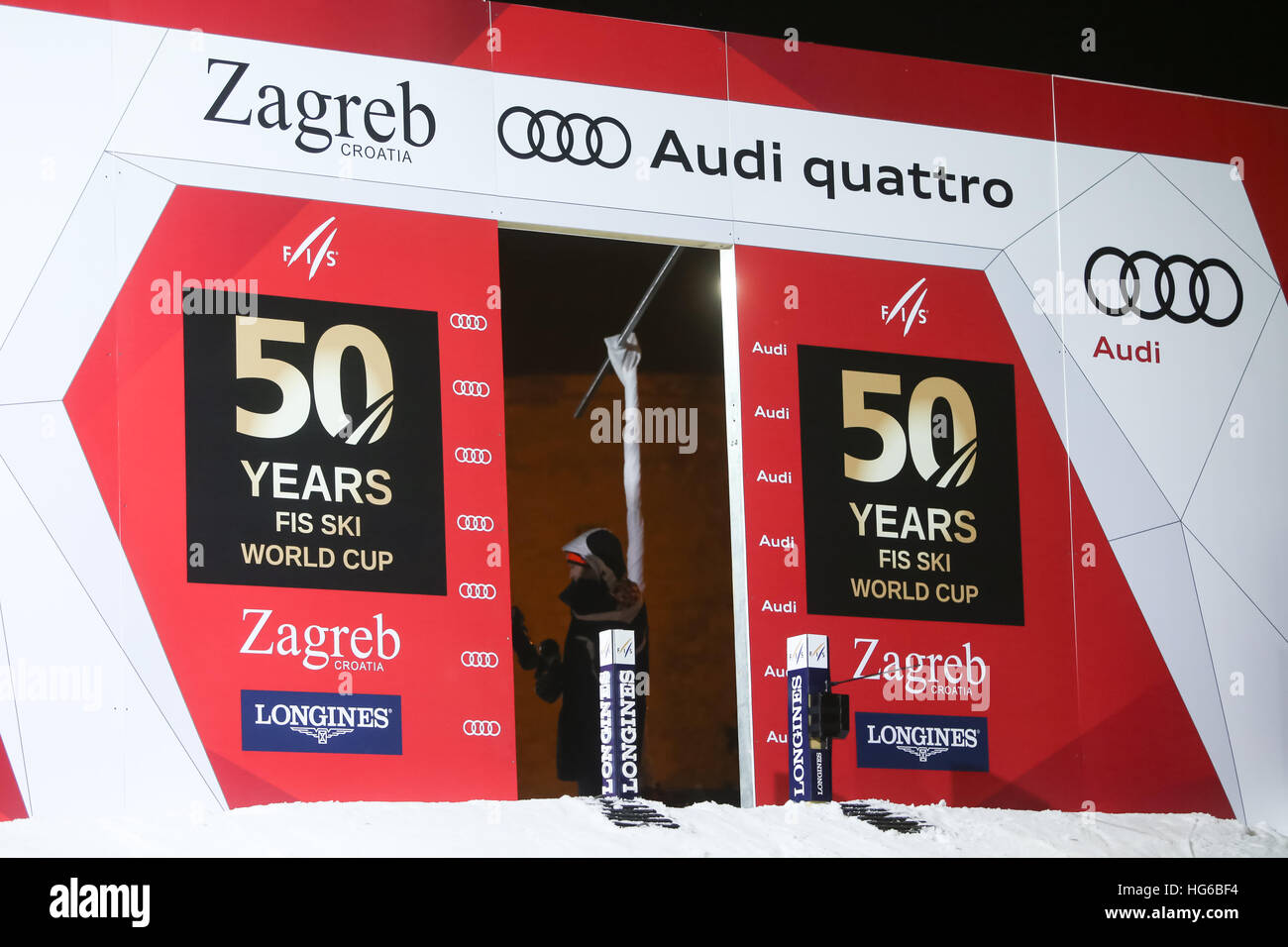 Zagreb, Croatia. 4th January, 2017. A celebration marking the 50th anniversary of the FIS World Cup in alpine skiing. Stock Photo