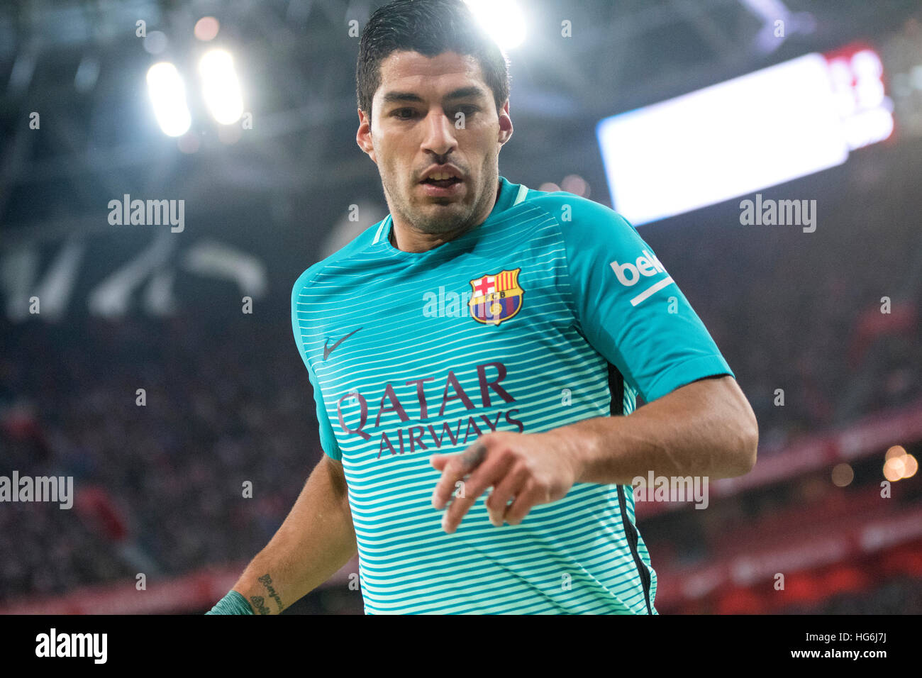 Bilbao, Spain. 5th January, 2017. Luis Suarez (Forward, FC Barcelona) during the football match of Spanish King's - Stock Image