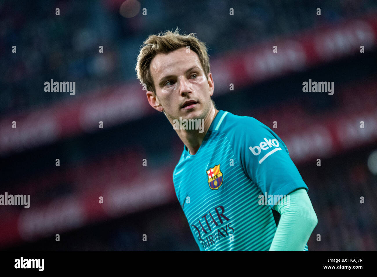 Bilbao, Spain. 5th January, 2017. Ivan Rakitic (Mildfierder, FC Barcelona) during the football match of Spanish - Stock Image
