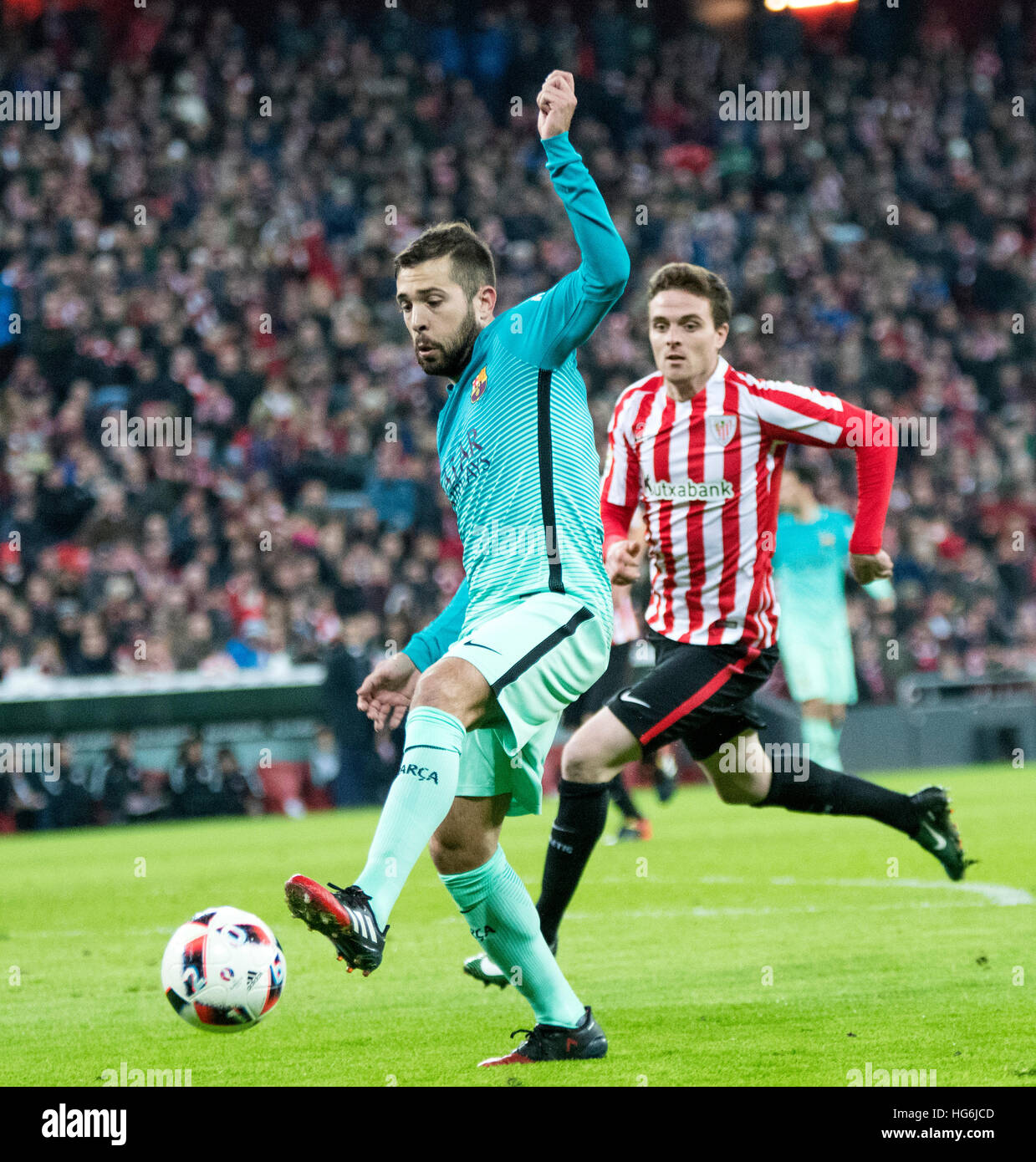 Bilbao, Spain. 5th January, 2017. Jordi Alba (Defender, FC Barcelona) in action during the football match of Spanish - Stock Image