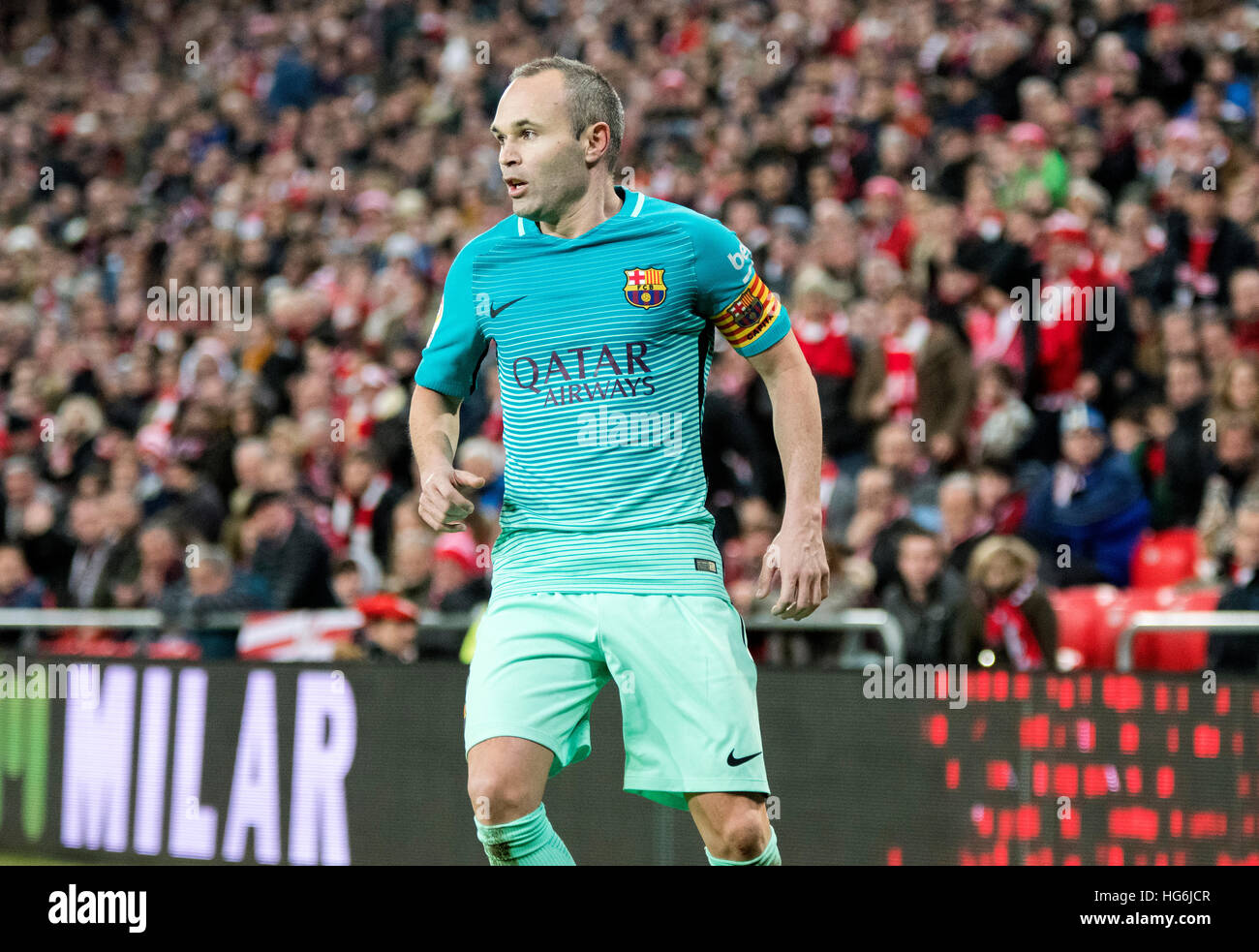 Bilbao, Spain. 5th January, 2017. Andres Iniesta (Mildfierder, FC Barcelona) during the football match of Spanish - Stock Image