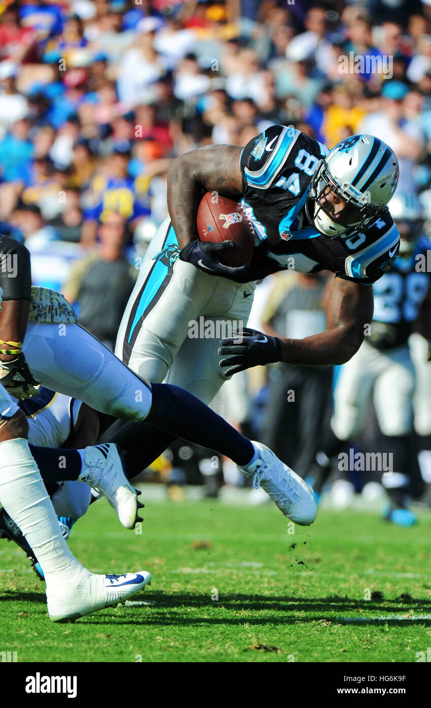 Los Angeles, California, USA. 6th Nov, 2016. Ed Dickson of the Carolina Panthers in action during a 13-10 victory over the Los Angeles Rams at the Los Angeles Memorial Coliseum in Los Angeles, Ca. © John Pyle/ZUMA Wire/Alamy Live News Stock Photo
