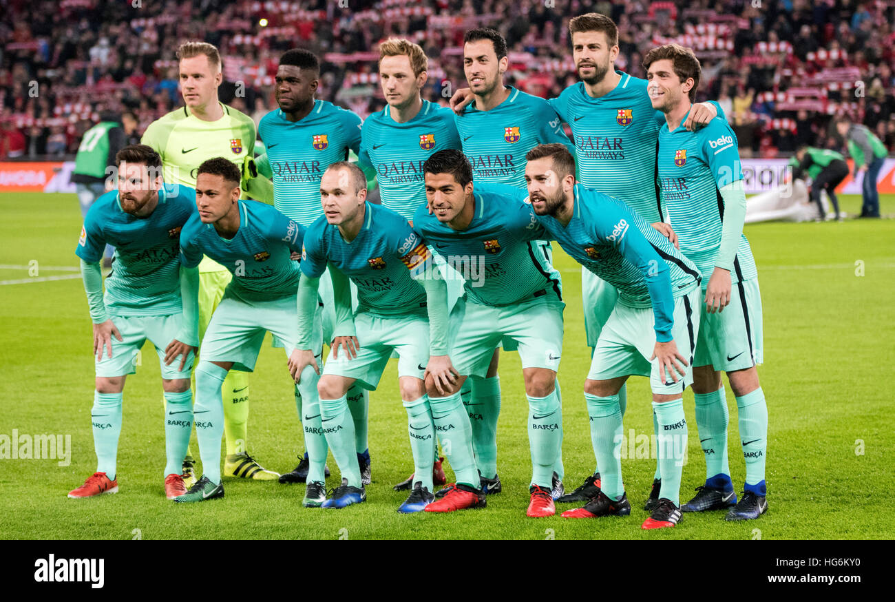Bilbao Spain 5th January 2017 Fc Barcelona Team Group Line Up