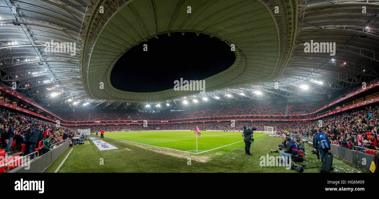 Bilbao, Spain. 5th January, 2017. Panoramic of the stadium during the football match of Spanish King's Cup between - Stock Image