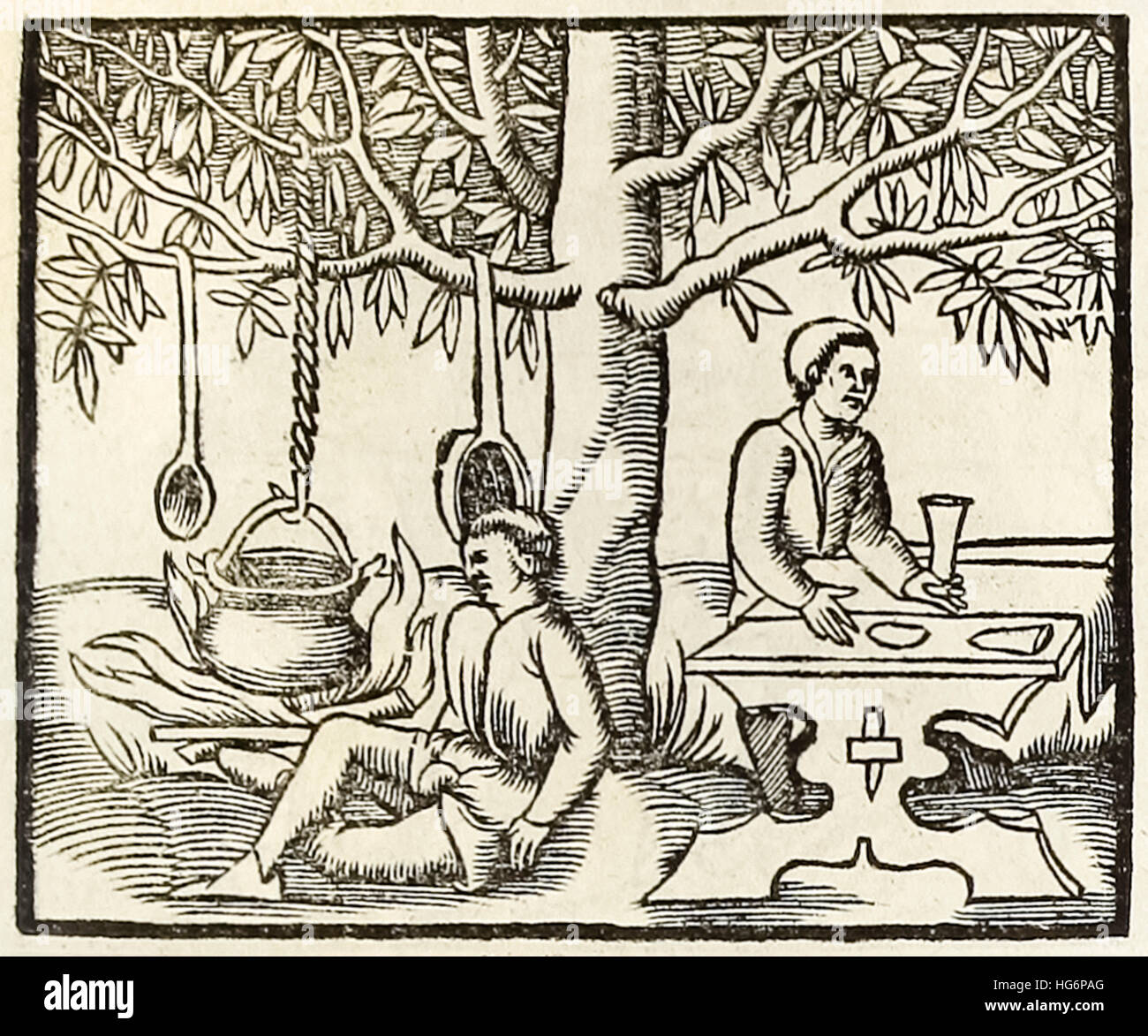 Cooking pot and waiting diner, woodcut from 1550 edition of 'Cosmographia' by  Sebastian Munster (1488-1552). See - Stock Image