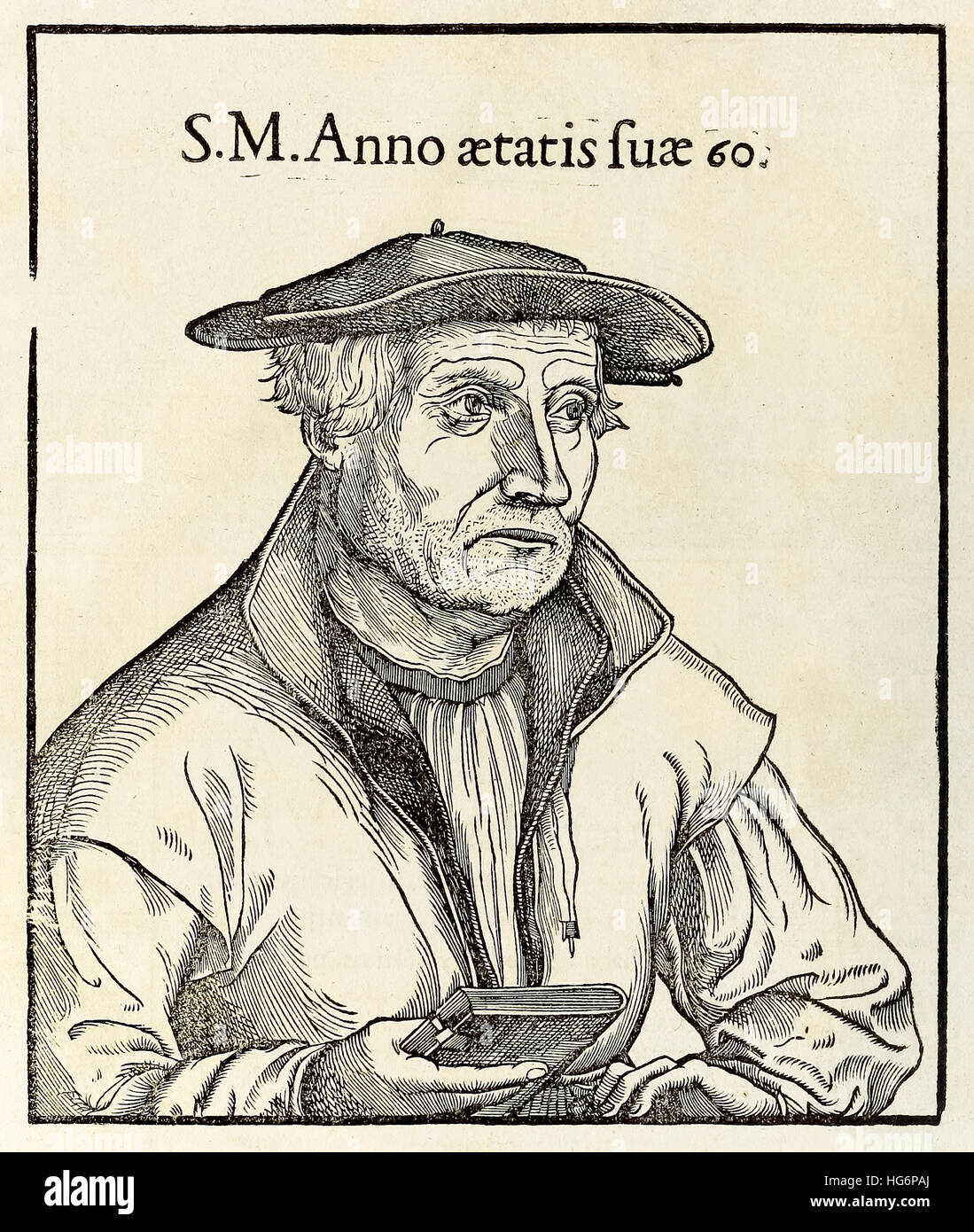Woodcut portrait of Sebastian Munster (1488-1552) from a 1550 edition of his 'Cosmographia'. See description for - Stock Image