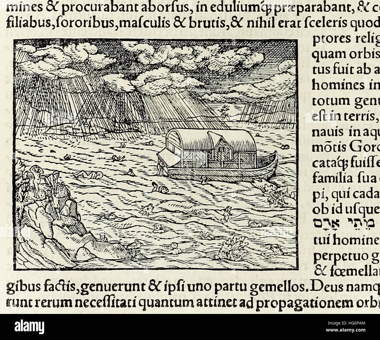 Noah's Ark and the deluge, woodcut from 1550 edition of 'Cosmographia' by  Sebastian Munster (1488-1552). See description - Stock Image
