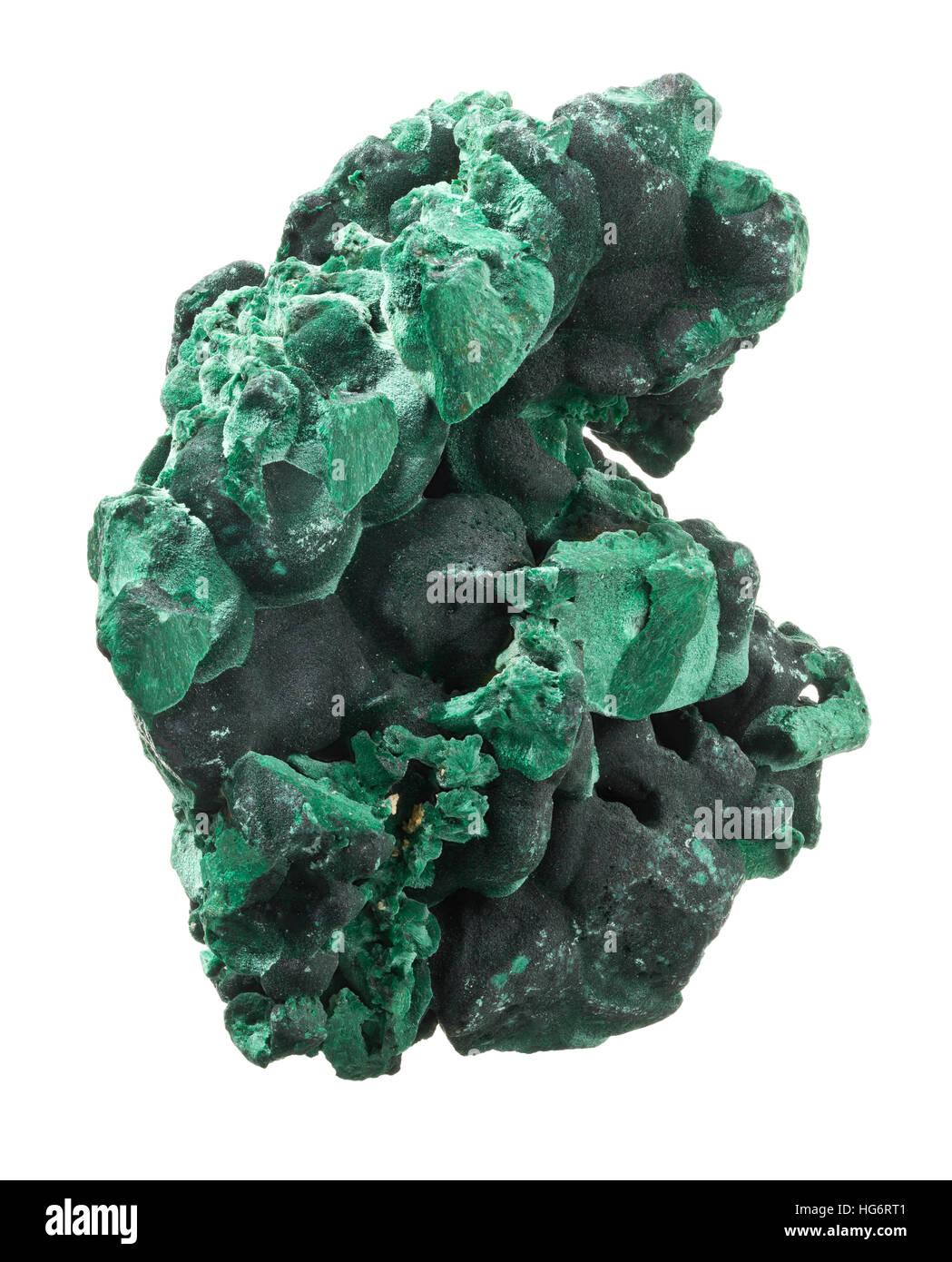 Raw, uncut malachite (cu2co3(oh)2) isolated on white background - Stock Image