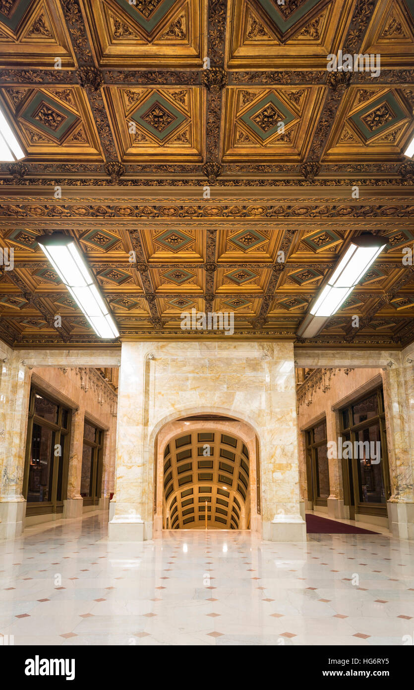 Interior architectural details of the rear lobby of the landmarked Woolworth Building in New York designed by architect - Stock Image