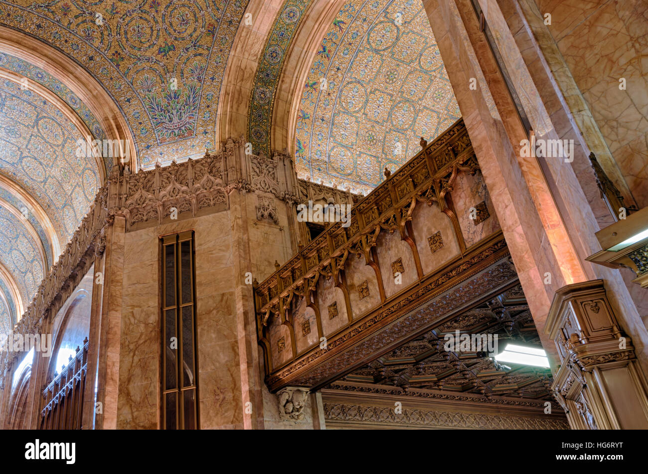 Interior architectural details of the lobby of the landmarked Woolworth Building in New York designed by architect - Stock Image