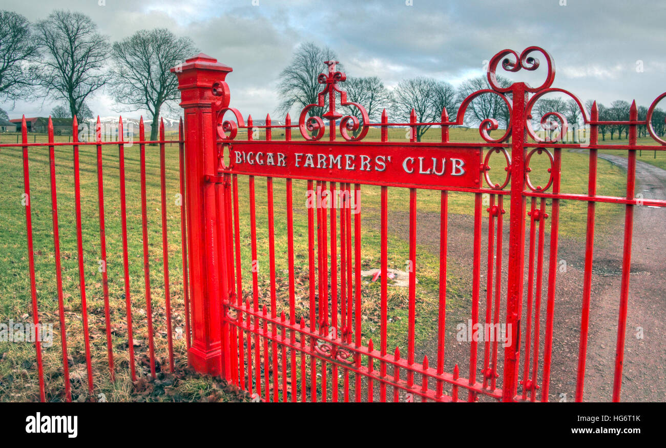 Biggar Farmers Club red gates,South Lanarkshire,Scotland,UK - Stock Image