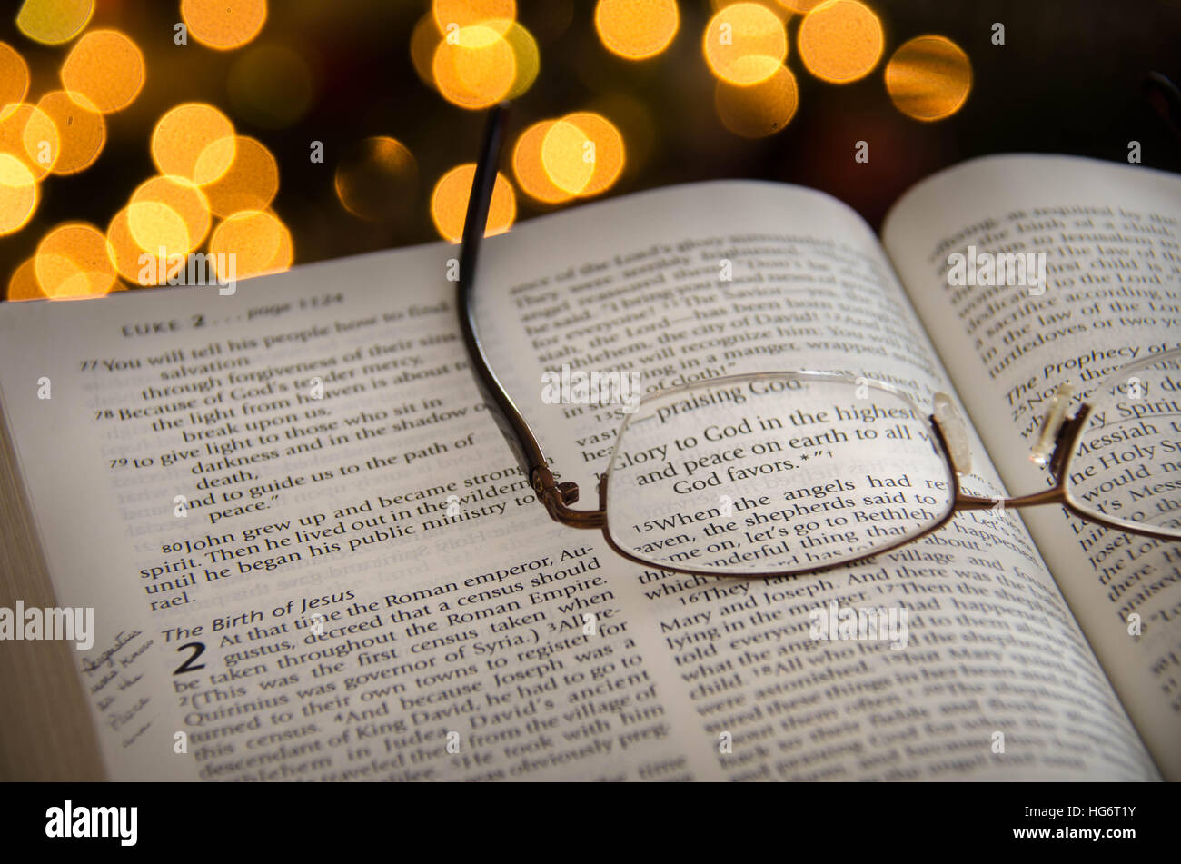 Bible Christmas Story.An Open Bible With Highlighted Verse On The Christmas Story