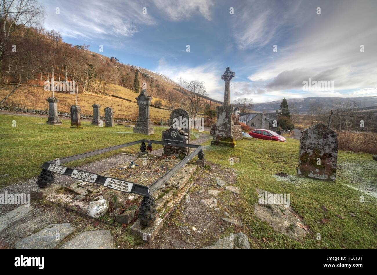 Balquhidder,Sterling,Scotland, UK - Rob Roy Red MacGregors resting place with dramatic sky - Stock Image