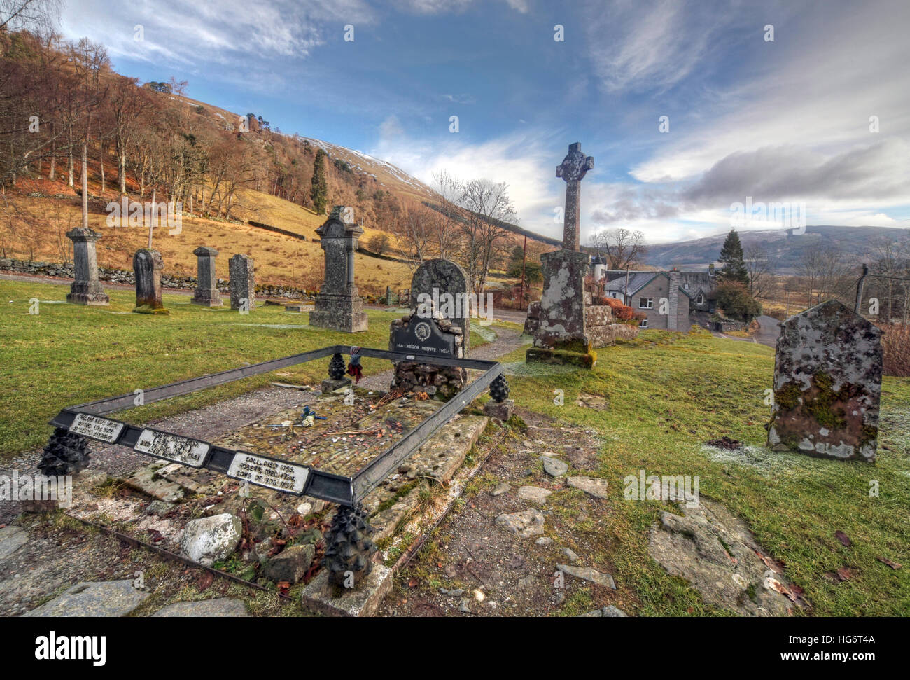 Dramatic sky at Balquhidder,Sterling,Scotland, UK - Rob Roy Red MacGregors resting place - Stock Image