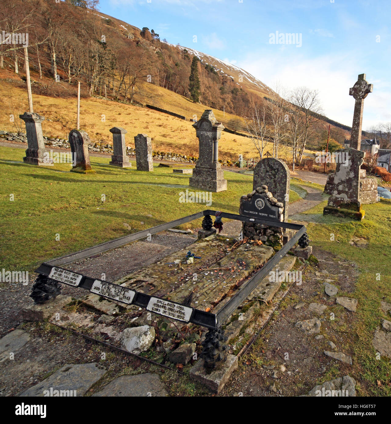 Balquhidder,Sterling,Scotland, UK - Rob Roy Red MacGregors resting place & grave - Stock Image